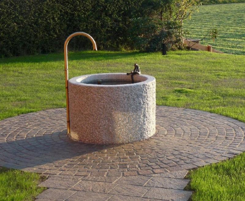 granitbrunnen pflanztrog rund 40x25. Black Bedroom Furniture Sets. Home Design Ideas