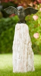 Rottenecker Bronzefigur Uhu, Flügel offen, mit Rosario Findling