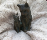 Rottenecker Bronzefigur Katze mit Baby
