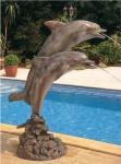 Rottenecker Bronze-Solitär-Skulptur 2 Delfine, wasserspeiend