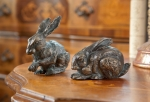 Rottenecker Bronzefigur Feldhasenpaar