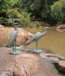 Rottenecker Bronzefigur Graureiher, aufrecht, wasserspeiend