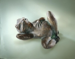 Rottenecker Bronzefigur Fauler Frosch, wasserspeiend