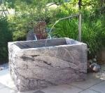 Granitbrunnen / Pflanztrog  rechteckig spaltrau 140x75x65