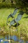 Rottenecker Bronzefigur Graureiher modern, Kopf links, wasserspeiend