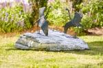 Rottenecker Bronzefigur Graureiher modern, Paar