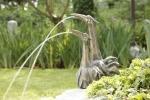 Rottenecker Bronzefigur Reiherpaar Duplus, wasserspeiend